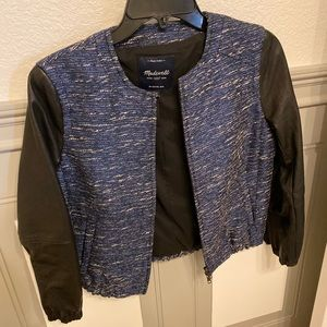 Madewell tweed and faux leather jacket
